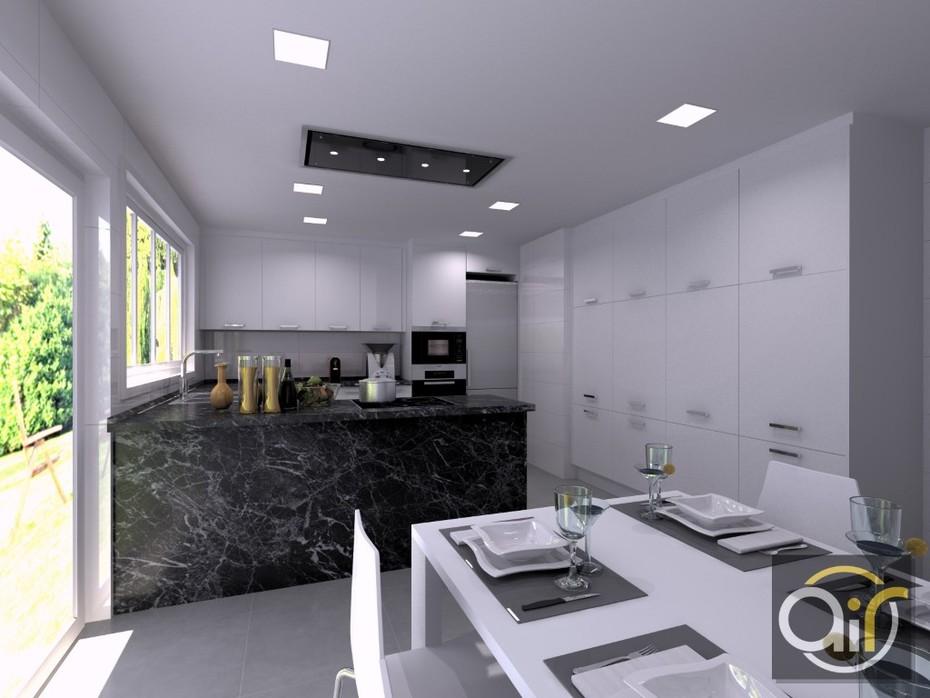Diseño de cocina en L'Eliana Valencia 3d