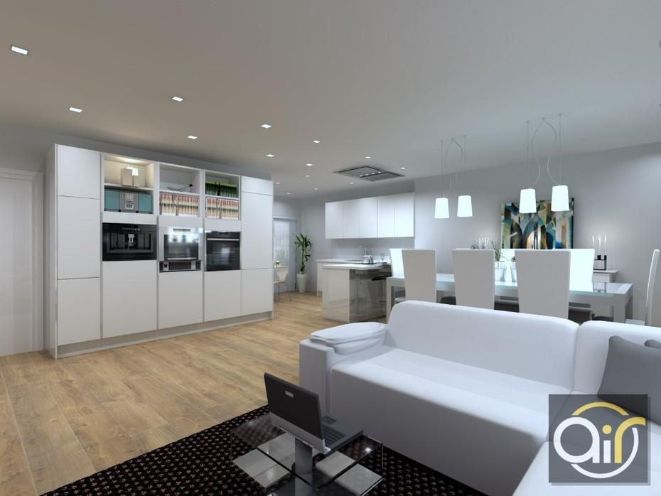 Diseño 3D de zona de comedor junto a cocina en vivienda de Valencia