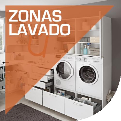 Zonas de lavado con mobiliario de cocinas