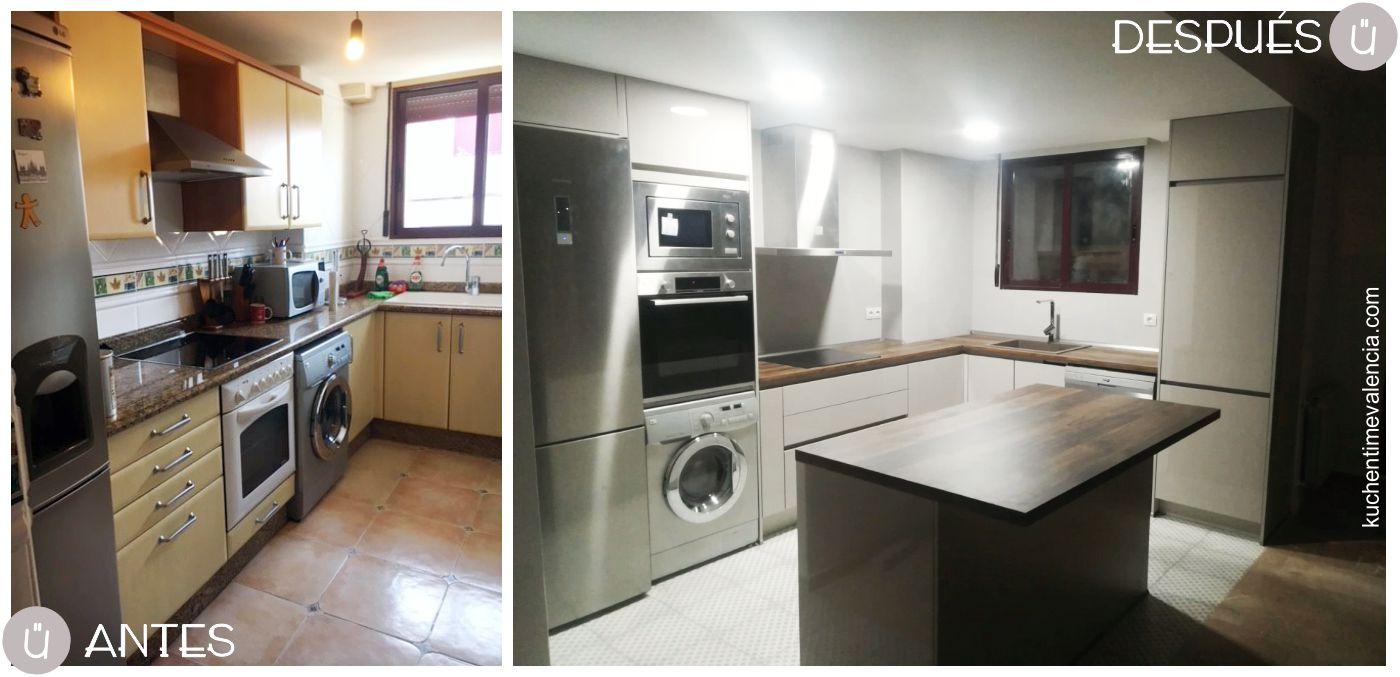 Cocina abierta hacia el salón proyecto integral de cocina en Bétera - Valencia- Antes y Después