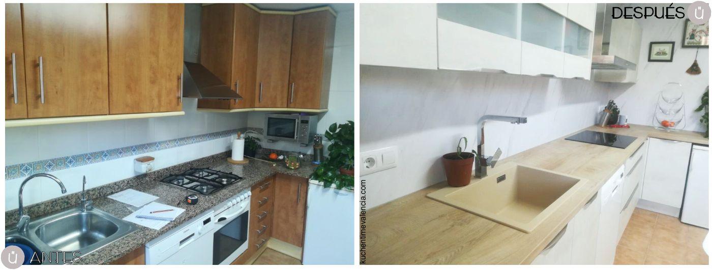 Reforma de cocina sin obras en Valencia - Lliria realizada por nuestro estudio de Cocinas en Paterna